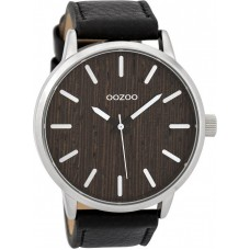 OOZOO Timepieces Nut Wood Dial Black Leather Strap