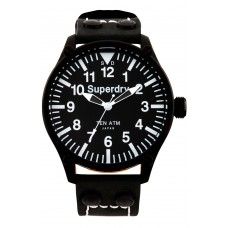 SUPERDRY Aviation Black Leather Strap SYG151W