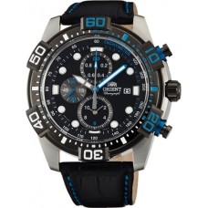 ORIENT Chrono  Black Leather Strap FTT16004BO