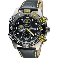 ORIENT Chrono  Black Leather Strap FTT16005BO