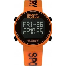 SUPERDRY Digi Pedometer Chronograph Orange Rubber Strap SYG203O