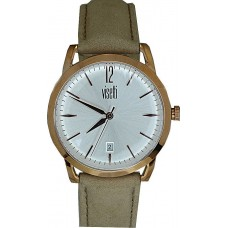 Visetti Simplicity Rose Gold Beige Leather Strap TI-904RL