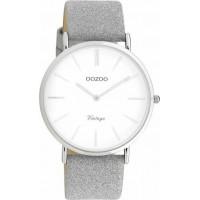OOZOO Vintage 40mm Grey Leather Strap C20145