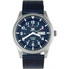 Seiko 5 Sports Mens Automatic Bleu Fabric Strap Watch SNZG11K1